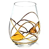 Antoni Barcelona Stemless Wine Glasses 21oz Mouth Blown Hand Painted Amazing Gift Wedding Woman Man Unique Present Anniversary Drink Party (Gold Line, Set 1)