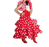 Spanish Flamenco Dress - Girls/Kids (Red dress white dots, 3/4 years)
