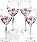 Crystal Clear Red Wine Glasses, Exceptional Elegant Hand Blown Premium Goblet for White Wine and Champagne, 21 Ounce, Colored, Set of 4, Culinaire Collection by Chef's Star