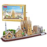 CubicFun 3D Cityline Puzzles for Barcelona Architecture Building Model Kits Collection Toys for Adults and Child, MC256h
