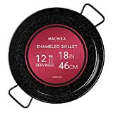 Machika Enameled Steel Skillet, Non Stick Paella Pan, Perfect for Camping and Outdoor Cooking, Rust Proof Coating 18 inch (46 cm)
