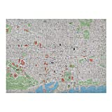 Map Jigsaw Puzzle Games 500 Piece, Map of Barcelona City Streets Parks Subdistricts Points of Interests, Beige Lime Green Pale Blue