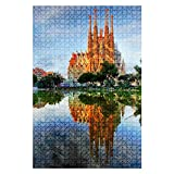 1000 Pieces Wooden Jigsaw Puzzle Sagrada Familia in Barcelona, Spain Water City Stock Pictures, Fun and Challenging Board Puzzles for Adult Kids Large DIY Educational Game Toys Gift Home Decor