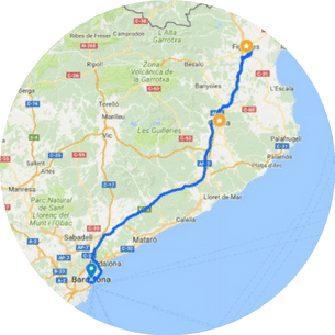 Girona, Figueres and Dali museum day trip from Barcelona map