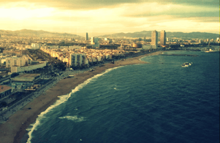 Barcelona panoramic view of the coastline
