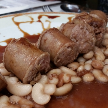 Sausage and beans from one of the restaurants born barcelona