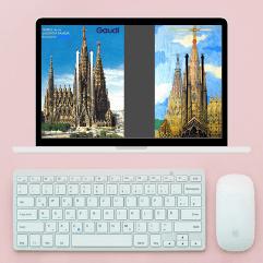 Computer screen during a Virtual Tour of Sagrada Familia
