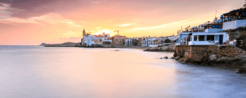 View of Sitges in the sunset